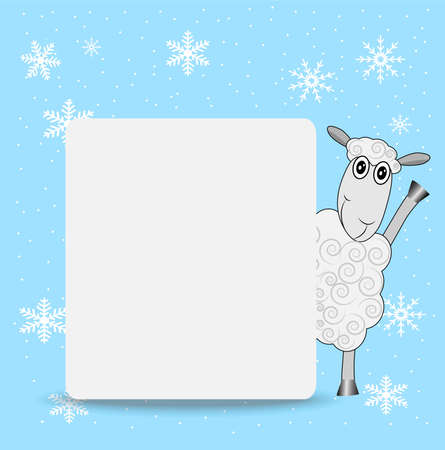 hoofs: merry sheep and clean banner,  vector  illustration Illustration