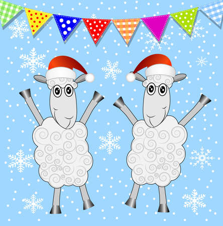 hubcap: two sheep and festive garland,  vector  illustration
