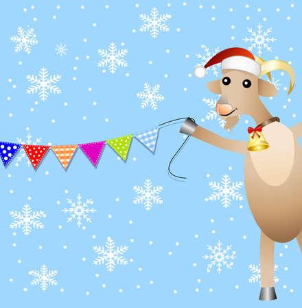 hubcap: merry goat and festive garland,  vector  illustration Illustration