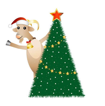 hubcap: merry goat and christmas tree,  vector  illustration Illustration