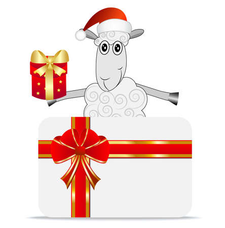 hoofs: merry sheep with a gift and greeting-card,  vector  illustration
