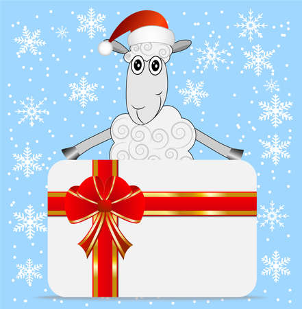 hoofs: merry sheep  and greeting-card,  vector  illustration Illustration