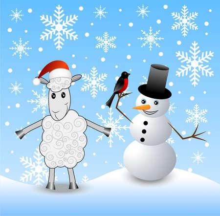 snow man: merry sheep, snow man and bullfinch,  vector  illustration