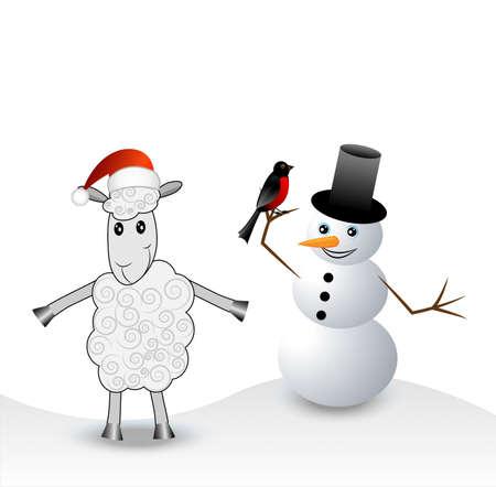 hoofs: merry sheep, snow man and bullfinch,  vector  illustration