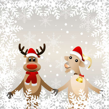 hoofs: merry goat in a christmas cap and elk,vector illustration