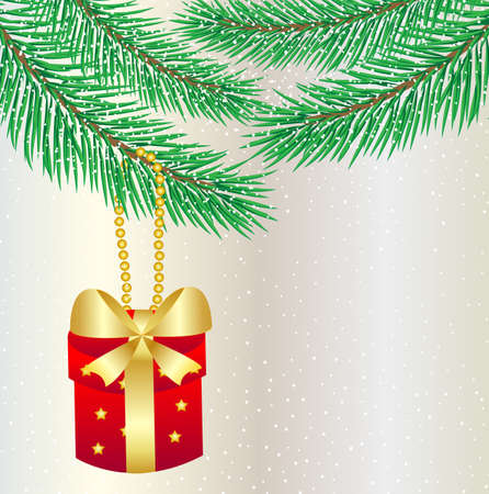 hangs: gift hangs on a christmas tree,vector illustration Illustration