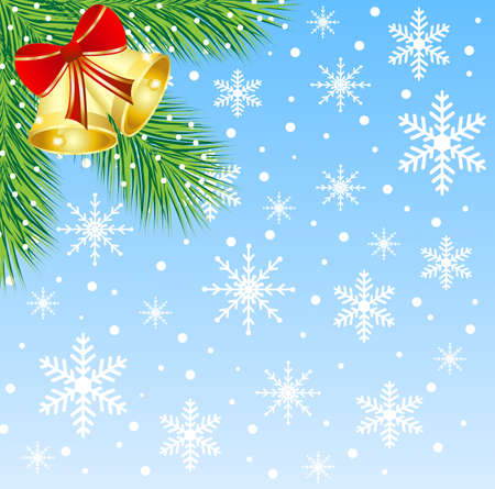 gladness: christmas background with the sprigs of fir-tree and campanellis,vector illustration
