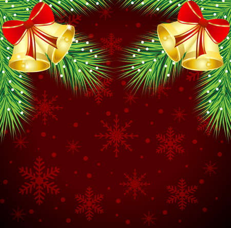 christmas background with the sprigs of fir-tree and campanellis,vector illustration