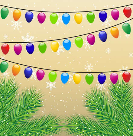 christmas background with the sprigs of fir-tree and festive garlands,vector illustration Vector