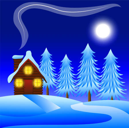 flue: night winter landscape with a wooden house and snow-bound trees,  vector  illustration