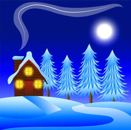 flue season: noche paisaje de invierno con una casa de madera y los �rboles cubiertas de nieve, ilustraci�n vectorial Vectores
