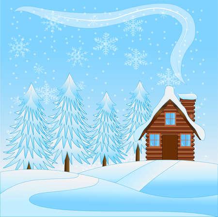 flue season: hermoso paisaje de invierno con una casa de madera y los �rboles cubiertas de nieve, ilustraci�n vectorial