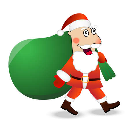hubcap: Santa claus with the sack of gifts,  vector  illustration
