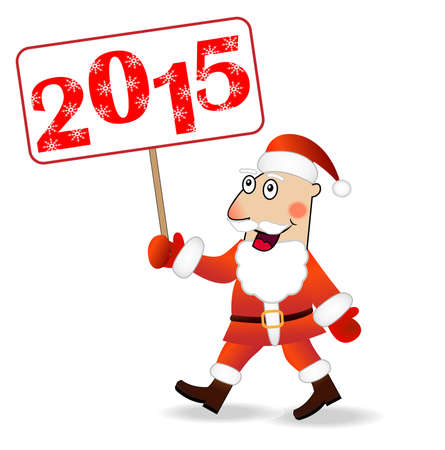 gait: merry Santa claus with numbers 2015,vector illustration