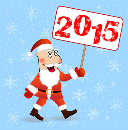 hubcap: merry Santa claus with numbers 2015,vector illustration