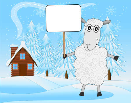 hoofs: merry sheep on a background winter landscape,  vector  illustration Illustration