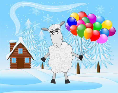 hoofs: merry sheep with air marbles on a background winter landscape,  vector  illustration Illustration