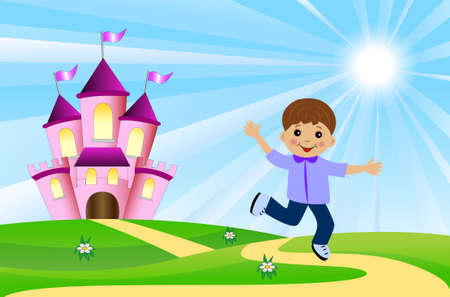 merry boy and fairy-tale palace on a green lawn, vector illustration Ilustrace