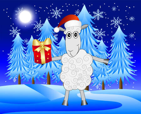 hoofs: merry sheep with a gift on a background night winter landscape,  vector  illustration Illustration
