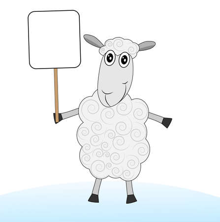 hoofs: merry sheep with a banner on a white background,  vector  illustration