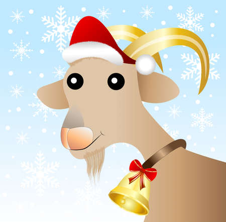 hubcap: merry goat  in a christmas cap,vector illustration Illustration