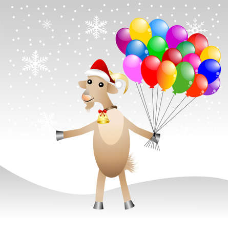 hubcap: merry goat  in a christmas cap with air marbles,vector illustration
