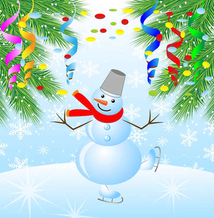 snow man: snow man on skates and branches of christmas tree,vector illustration