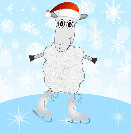hubcap: sheep in a christmas cap on skates,vector illustration