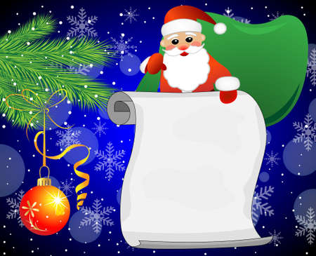 Santa claus, branches of christmas tree and sheet of paper,vector illustration Vector