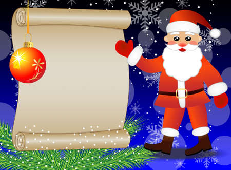 Santa claus shows on the sheet of paper, christmas background,vector illustration Vector
