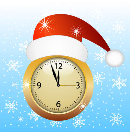 hubcap: clock in a christmas red cap,vector illustration