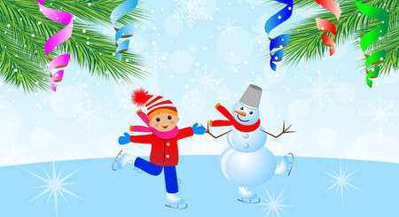 snow man with boy on skates and branches of christmas tree,vector illustration Vector