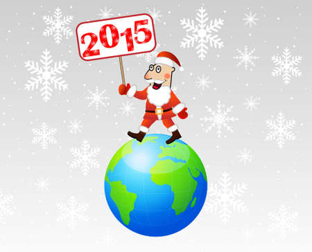 hubcap: Santa claus steps on earth with a banner 2015 year in hands,vector illustration