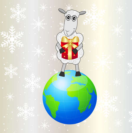 hubcap: sheep with a gift stands on a planet Earth,vector illustration