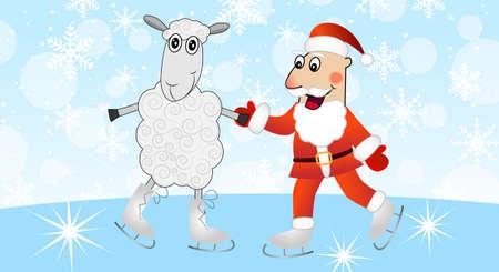 hubcap: Santa claus with a sheep skate,vector illustration