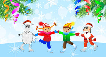 Santa claus, sheep and children on skates,vector illustration Vector