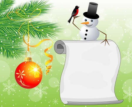 snow man: snow man, branches of christmas tree and sheet of paper,vector illustration