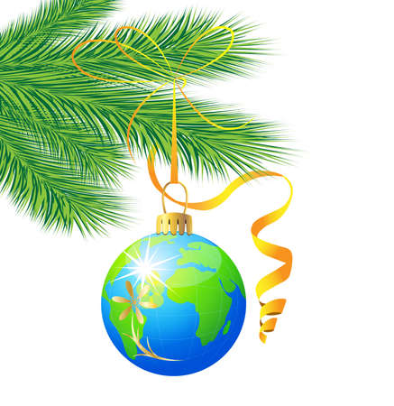 hangs: festive toy ball as a planet Earth hangs on the green branch of tree,  vector  illustration