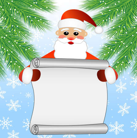 hubcap: merry Santa claus holds the sheet of paper, christmas background,vector illustration Illustration