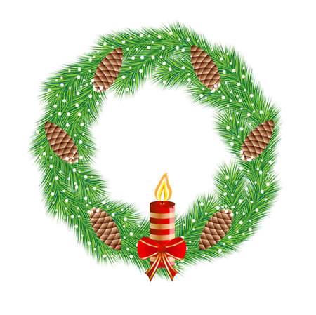 chaplet: christmas chaplet with  cones and candle,vector illustration