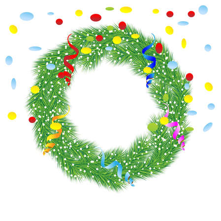 chaplet: christmas chaplet with a serpentine and confetti,vector illustration