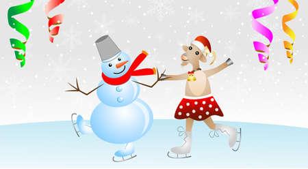snow man: merry goat in a skirt and snow man on skates,vector illustration Illustration