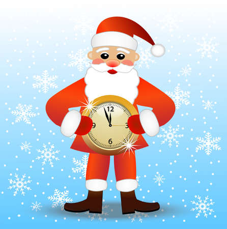 merry Santa claus with a clock,vector illustration