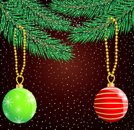 festive christmas background with balls,  vector  illustration Çizim