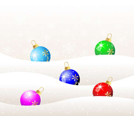 christmas toys balls on to snow,vector illustration Vector