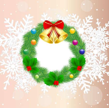 chaplet: christmas chaplet with campanellis,  vector  illustration Illustration