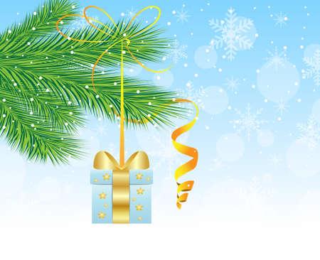 hangs: festive gift hangs on the green branch of tree,  vector  illustration Illustration