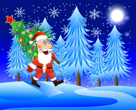 carries: Santa claus carries the decorated christmas tree,  vector  illustration Illustration