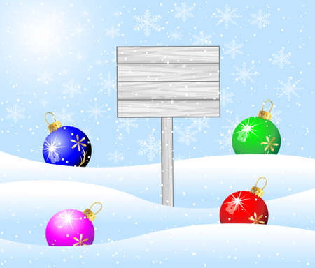 wooden banner and christmas toys balls,vector illustration Vector