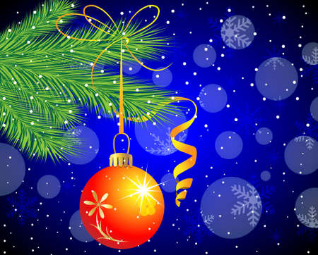 hangs: festive toy a ball hangs on the green branch of tree,  vector  illustration Illustration